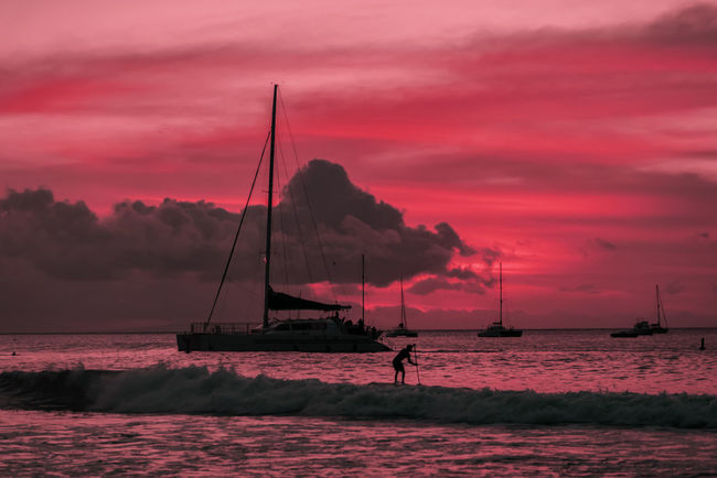 Red Sunset off Maui with paddle boarder and sailboats. Beauty In Nature Cloud - Sky Cruise Day Fishing Pole Hawaii Horizon Over Water Maui Men Nature Nautical Vessel One Person Outdoor Recreation Outdoors People Real People Scenics Sea Silhouette Sky Sunset Tranquil Scene Tranquility Water Waterfront
