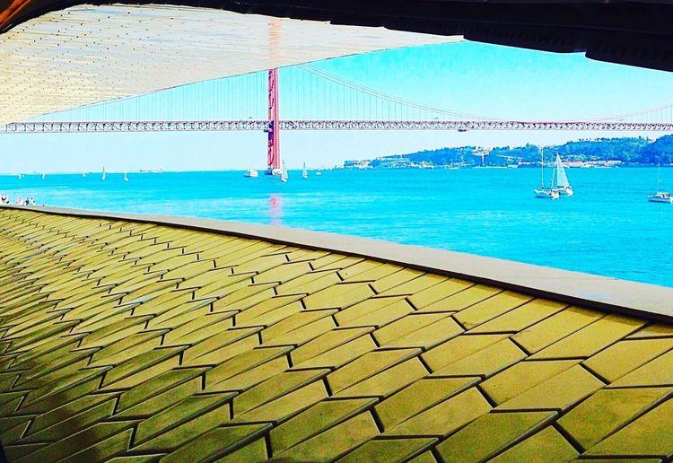 Lisbon - Portugal MAAT Museum Belém Bridge 25 De Abril Water Sea Nautical Vessel Blue Beach Sky
