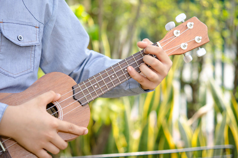 Cropped Image Of Man Playing Guitar In Yard