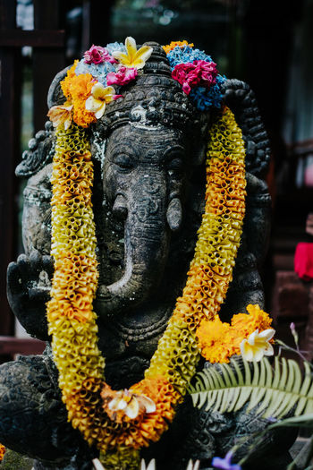 A statue with flowers. Flower Flowering Plant Garland Sculpture Plant Belief Statue Spirituality Religion Representation Place Of Worship Art And Craft No People Close-up Nature Focus On Foreground Day Floral Garland Outdoors Gods Elephant
