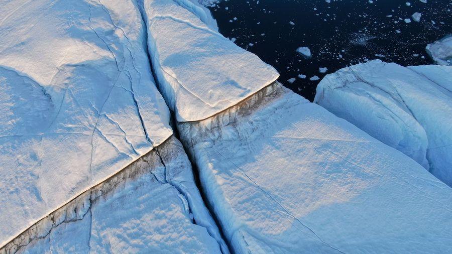 High angle view of snow