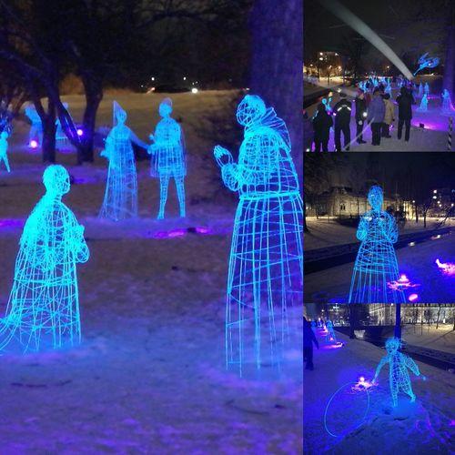 Night Illuminated Outdoors Oulu, Finland Lightfestival