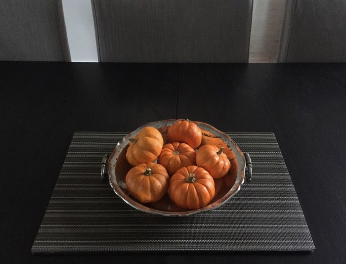Shades Of Grey Orange Pumpkins Silver  Bowl Table Autumn