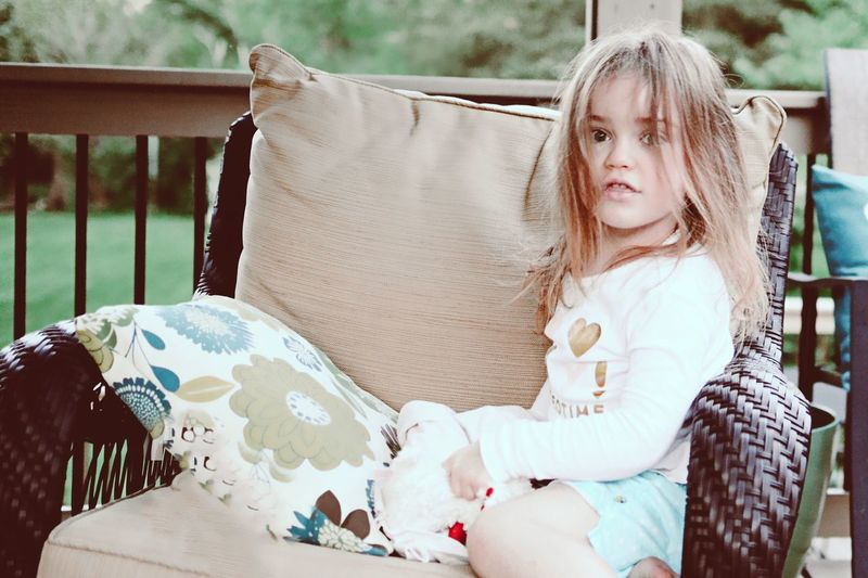Moms daughter Sitting One Person Bed Blond Hair Childhood Lying Down Pillow Day Sheet Portrait Young Women Outdoors People One Young Woman Only