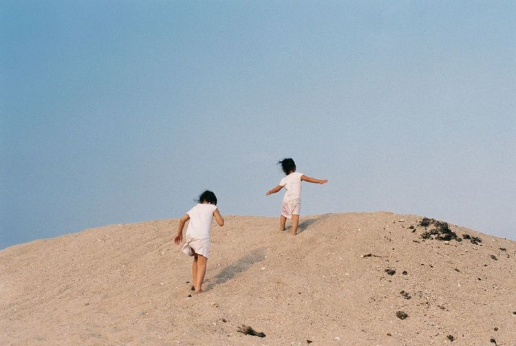 Rear view of friends walking on sand against clear sky
