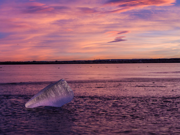 A small iceberg resting on top of the ice at sunset. Colorado Dramatic Sky Ice Icebergs Sunset_collection Winter Animal Themes Beauty In Nature Cloud - Sky Cold Temperature Day Dusk Glacier Golden Hour Ice Iceberg Nature No People Outdoors Scenics Sea Sky Sunset Water