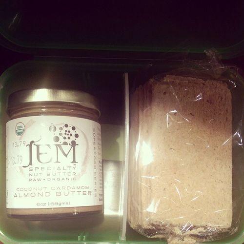 @jemraworganics almond coconut almond butter and Lepaindesfleurs Chestnutcrispbread Organic yumm