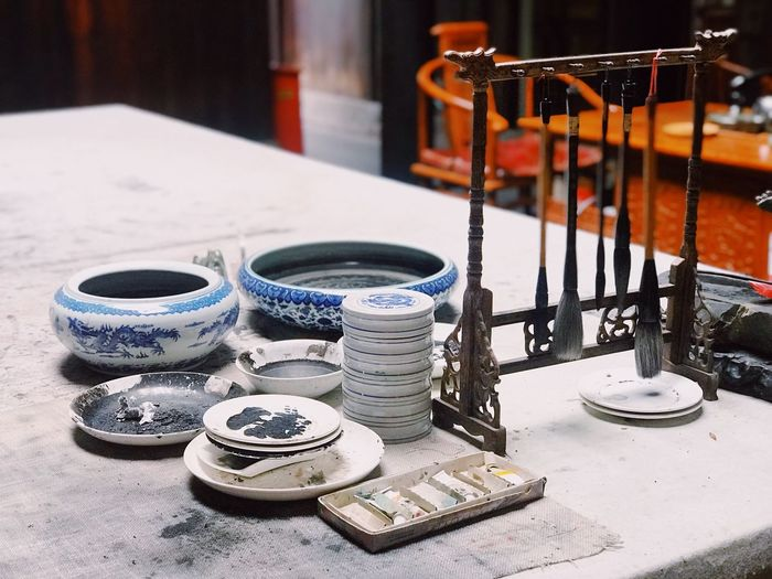Traditional No People Still Life Table Indoors  Close-up Focus On Foreground Container Arrangement Large Group Of Objects Arts Culture And Entertainment