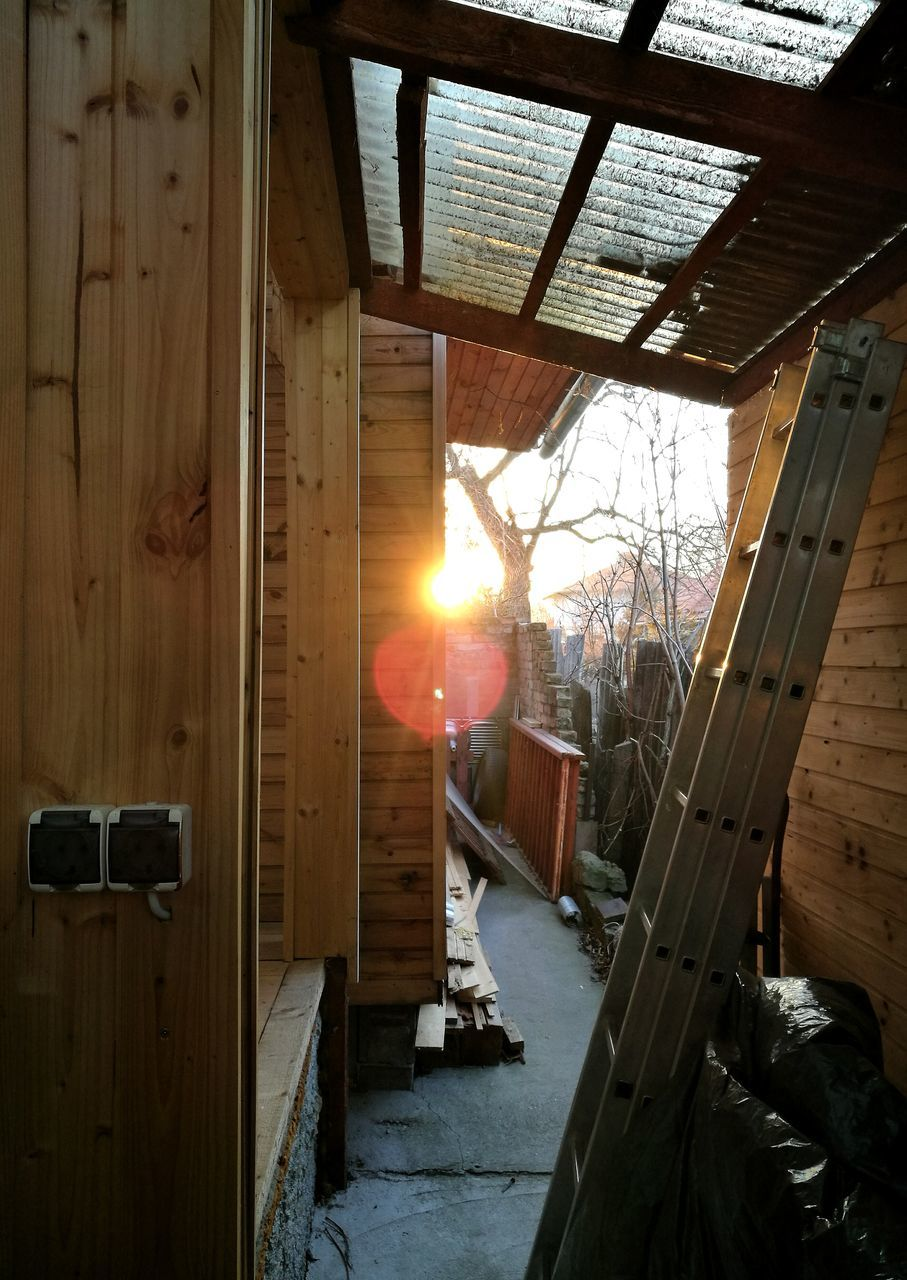 sun, wood - material, sunset, sunlight, architecture, no people, indoors, day, wood paneling, sky