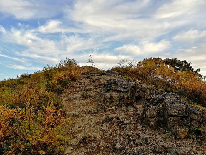 Autumn landscape with the rock Autumn Autumn colors Rocky Mountains Mountain Rock Formation Top Lespedeza Evening Light Tree Sky Landscape Cloud - Sky Close-up Autumn Collection
