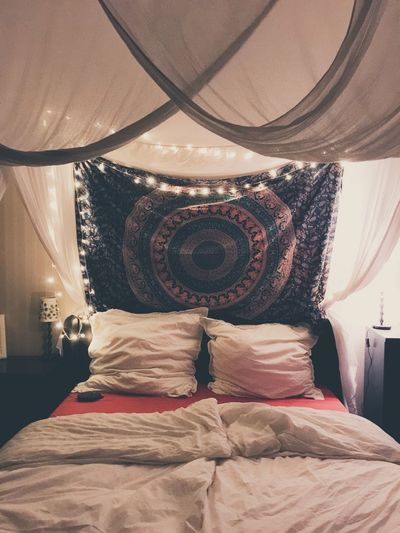 Full frame shot of bed in bedroom at home