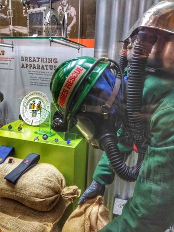 mine rescue Mine Rescue Big Pit Mine Museum Technology Gauge Close-up Green Color