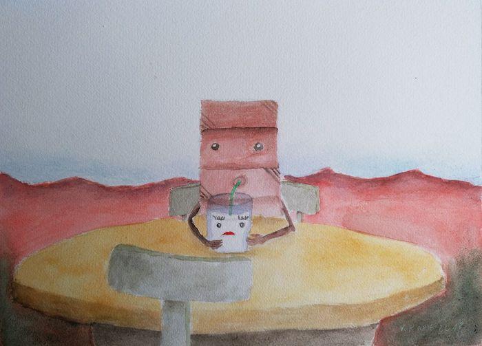 Milk drinking chocolate Watercolor Painting Schmincke Surrealist Art ArtWork Drawing - Art Product Drawing - Activity