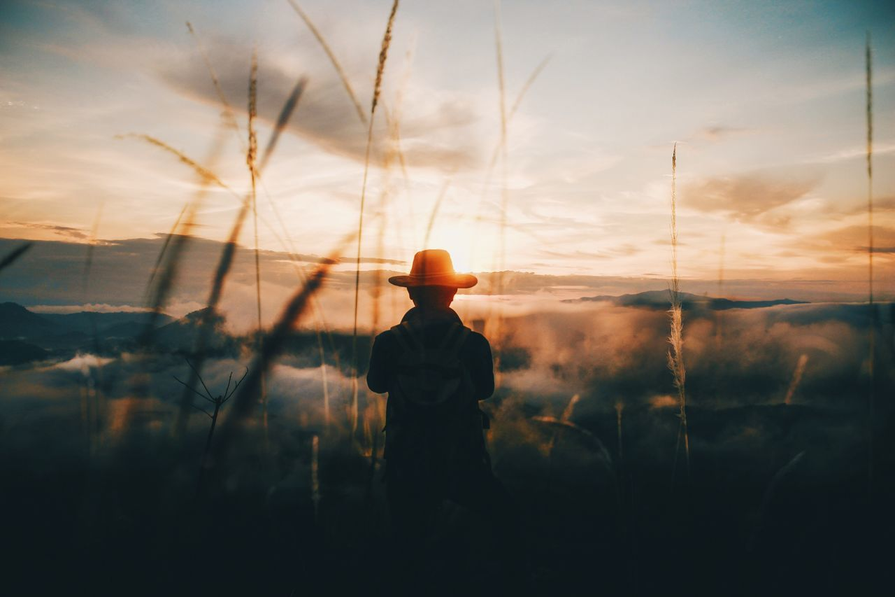 Rear view of silhouette man standing on field against cloudy sky during sunset