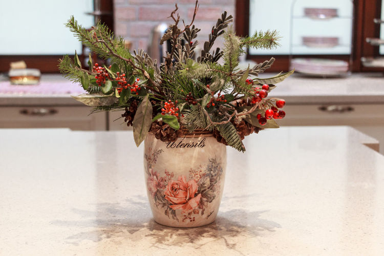 Decoration Winter Composition Vase Decoration Bouquet Home Interior Decor Winter Bouquet Indoors  Christmas Spirit Needles And Cones Needles Kitchen Life Kitchen Table Kitchen Decoration Kitchen Homemade Home Home Decor