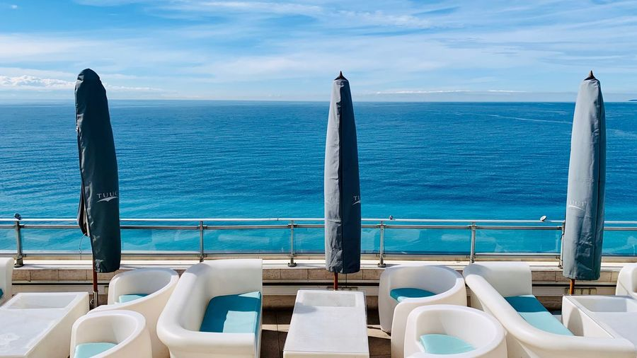 Rooftop in the Morning Le Meridien Hotel Bar Terrace France Côte D'Azur Rooftop Water Sea Sky Nature No People Day The Mobile Photographer - 2019 EyeEm Awards Sunlight Scenics - Nature Outdoors Horizon Over Water Table Seat