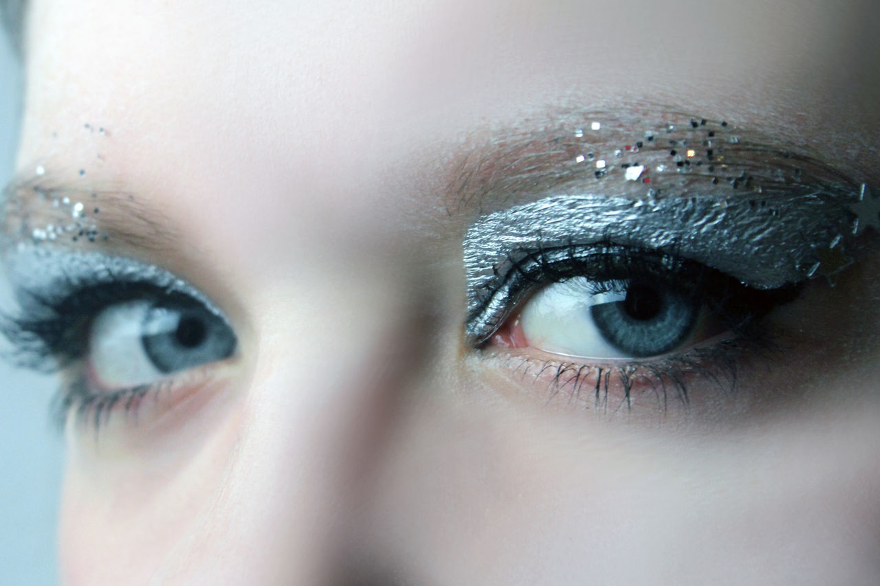 Cropped Image Of Portrait Woman With Eye Shadow