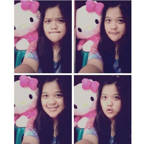 (5) With Big HK from my lovely mom <3 Me Selca Takeaselca With Pink HK doll mine cute loveit nice random tshirt 4pages instapict instacool tagsforlove likeme flwme