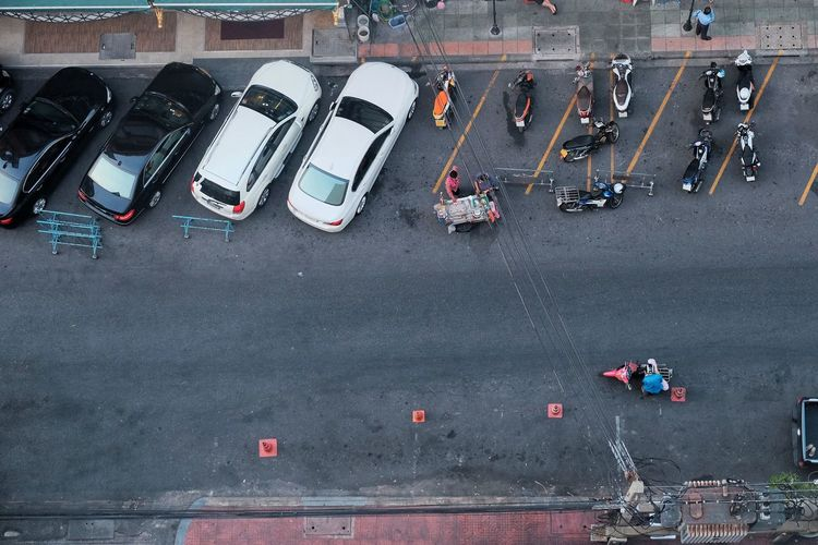 High angle view of vehicles parked on road