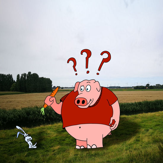 Grass Outdoors Cloud - Sky No People Landscape Nature Cartoon Eat Your Veggies Eat Your Greens Eat Your Carrots Pig Piggy Fat Pig Domestic Animals Illustration Healthy Eating Health Food Carrots