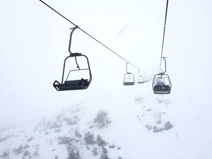 Ski lift in the alps with a limited view. Winter Snow Cold Temperature Weather White Color Ski Lift Nature Outdoors Ski Holiday Empty Ski Lift Alps Garmisch-partenkirchen Into The White Bad Dream  Nightmare