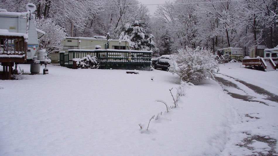 Snow Storm in a Camping Trailer Park in Sussex County New Jersey Camping Trailer Park Beauty In Nature Camp Ground Campground Cold Temperature Nature No People Outdoors Snow Trailer Tree Weather Winter
