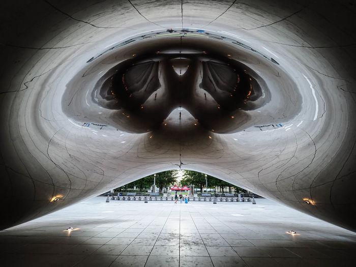 Digital composite image of illuminated ceiling in building
