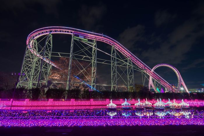 Christmas illumination Night Pink Color Light Trail Neon Rollercoaster No People City Low Angle View Outdoors Sky