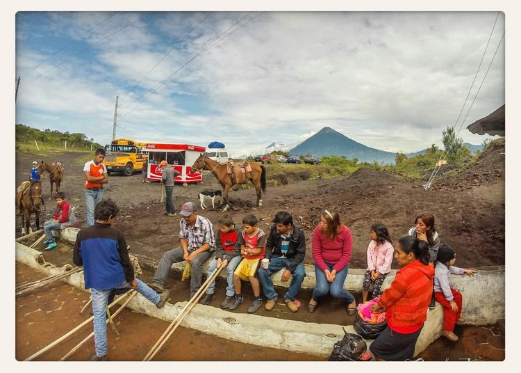 Pack Horses at the base of volcan Pacaya in Guatemala Volcano Travel Photography