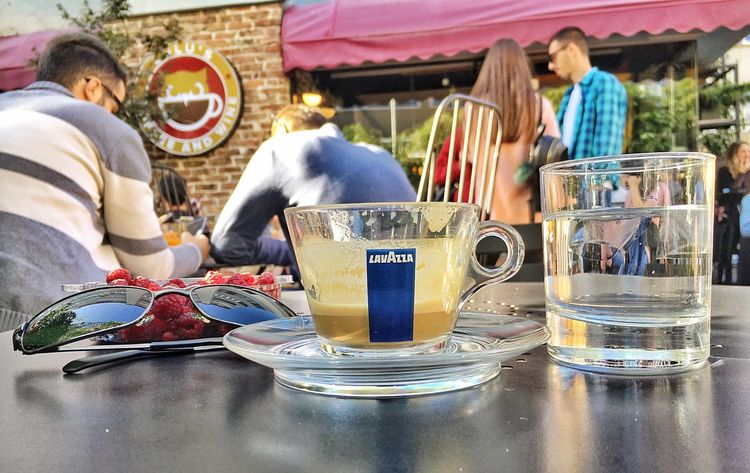 Drink Table Food And Drink Coffee Cup Coffee - Drink Refreshment Men Incidental People Plate Drinking Glass Real People Day Women Cafe Freshness Outdoors Adult Tea - Hot Drink Food Only Men PRISHTINA Kosovo