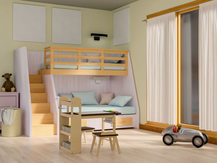 Mock up poster in baby bedroom. Poster Baby Bedroom Home Interior Seat Chair Furniture Indoors  Domestic Room Table No People Empty Absence Wood - Material Home Home Showcase Interior Day Living Room Flooring Entrance Wood Door Architecture Modern