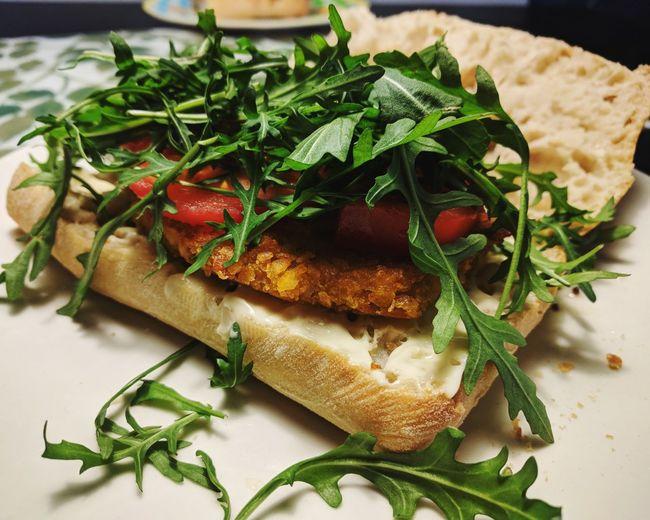 Vegan Food Vegan Schnitzel Sanwich Lunch Ciabatta Arugula