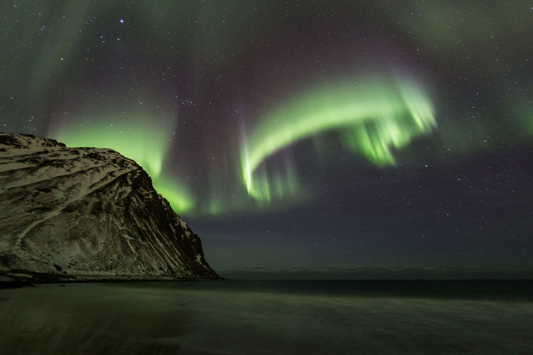 Scenic view of sea against aurora borealis at night