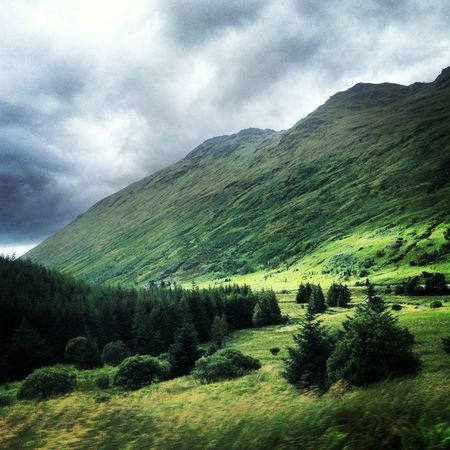 Cloudy Countryside Grass Growth Landscape Mountain Mountain Range No People Outdoors Scotland Tranquility
