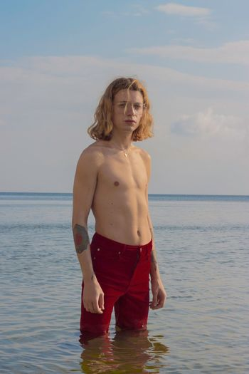 Red Sea Water One Person Shirtless Sky Three Quarter Length Beach EyeEmNewHere This Is Strength