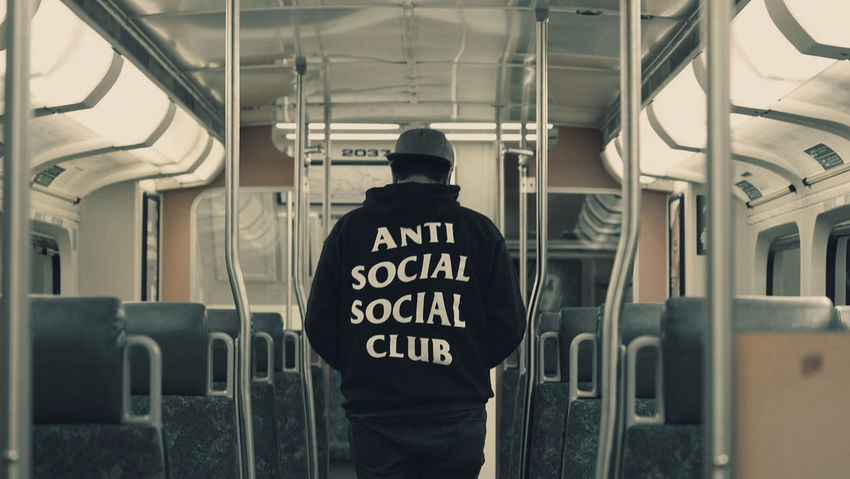 Assc x Burlington Anti Social Anti Social Social Club Day Eye4photography  EyeEm Best Shots First Eyeem Photo Hypebeast  Indoors  Men One Man Only One Person People Real People Rear View Standing Text Train Train Station Transportation Uniform Urban
