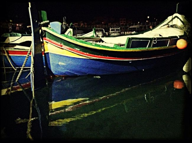 Water Reflections Boats Night Colour