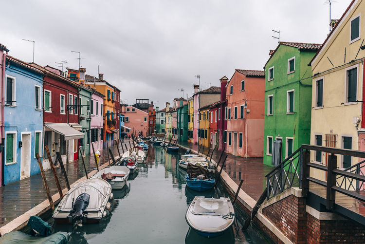 Architecture Boat Building Exterior Built Structure Burano Canal Cloud - Sky Day Mode Of Transport Moored Nautical Vessel No People Outdoors Residential Building Sky Transportation Venice Water