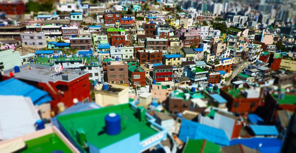 Tilt-Shift Image Of Multi Colored Houses