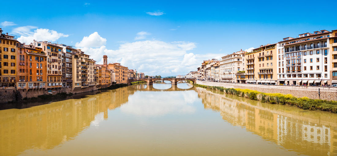Medieval Tourist Attraction  Tourist Destination Tourist Tourism Travel Travel Destinations Ponte Vecchio Destination Art Panorama Landscape Water City Bridge - Man Made Structure Reflection River Symmetry Sky Architecture Building Exterior Built Structure Historic Footbridge Arch Bridge Arch History Calm Archway Canal