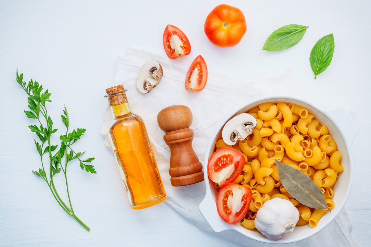 food, food and drink, vegetable, still life, freshness, healthy eating, high angle view, indoors, wellbeing, tomato, carrot, pepper, table, no people, fruit, orange color, spice, pasta, bell pepper, root vegetable, preparation, herb, chopped, vegetarian food