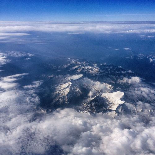 From An Airplane Window Mountains Alps