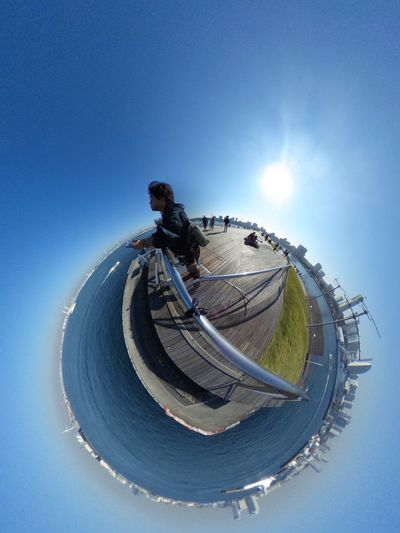 Theta で撮ると Selfie になる。の図。 Theta360 Little Planet Super Wide Angle 広角機動隊 I ❤️ Yokohama. Landscape Seascape Blue Sky Blue Earth Sunshine Sunny Day Cityscape Selfie ✌ Clear Sky EyeEm Best Shots - Landscape EyeEm Best Shots Snapshot Taking Photos Walking Around お写ん歩