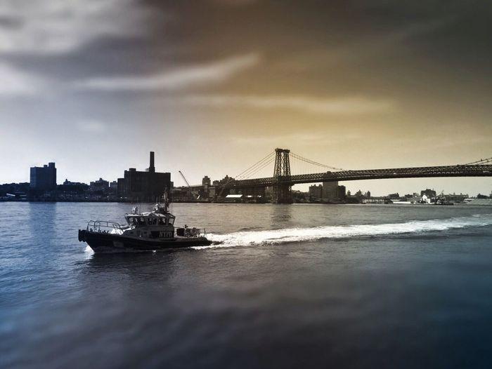 Urban Exploration Cityscape Manhattan Bridge Eastriver NYC Boat Policeboat Eyeemphoto featured in Popular Photos