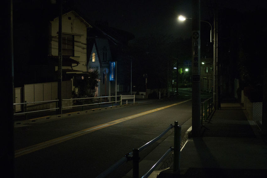 ASIA Alone Alone In The City  City Dark Road Tokyo Transportation Anxiety  darkness and light Darkside Empty Illuminated Insecurity Light And Shadow Lonley Lonliness Night No People Shadow Streetphotography