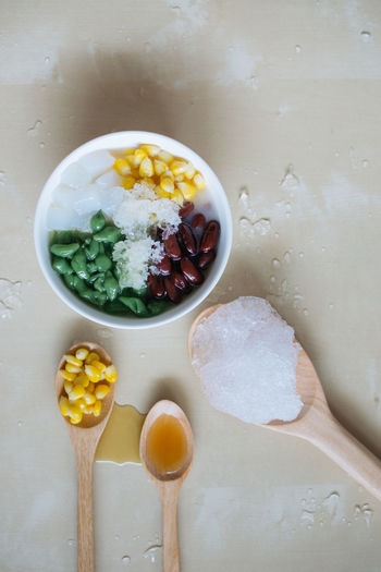 Shaved Ice with Corns, Red Beans and Syrup ASIA Bangkok Bowl Close-up Desert Deserts Around The World Food And Drink Freshness Local Food Local Landmark Red Beans Shaved Ice With Co South East Asia South East Asia Food Summer Syrup Thai Thailand Wooden Spoon
