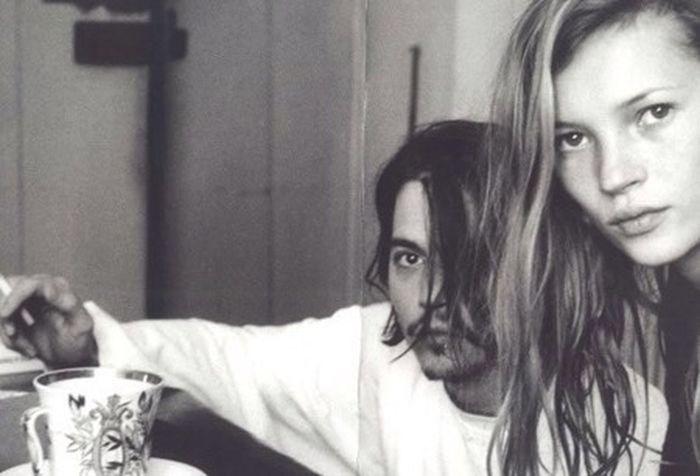 Johnny Depp Katemoss Couple Blackandwhite