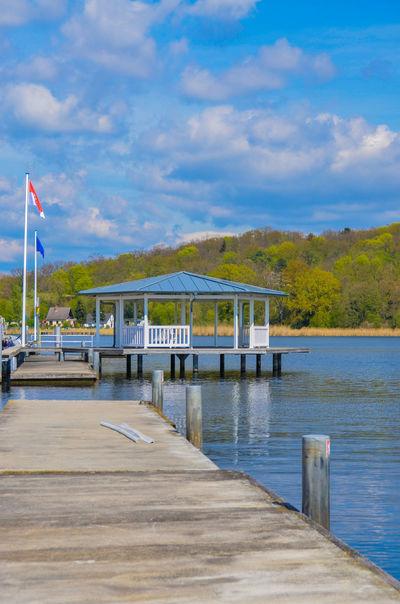 Blue Cloud - Sky Flag Jetty Lake Outdoors Patriotism Pier