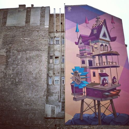 #ArtWork #budapest #colorful #colorfulcity #fantasy #graffiti  #illustration #Streetart #urban #wallpainting Architecture Building Exterior Day No People Outdoors Postcard