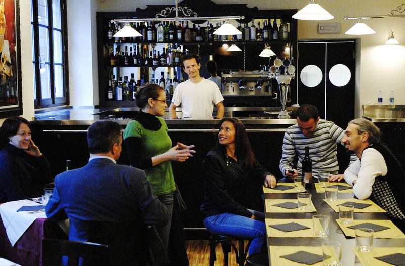 People working in restaurant